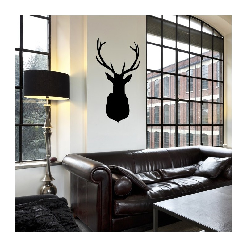 sticker troph e de chasse sticker cerf d coration originale. Black Bedroom Furniture Sets. Home Design Ideas