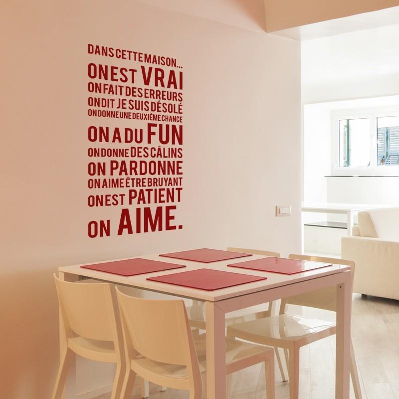 stickers muraux sticker texte dans cette maison. Black Bedroom Furniture Sets. Home Design Ideas
