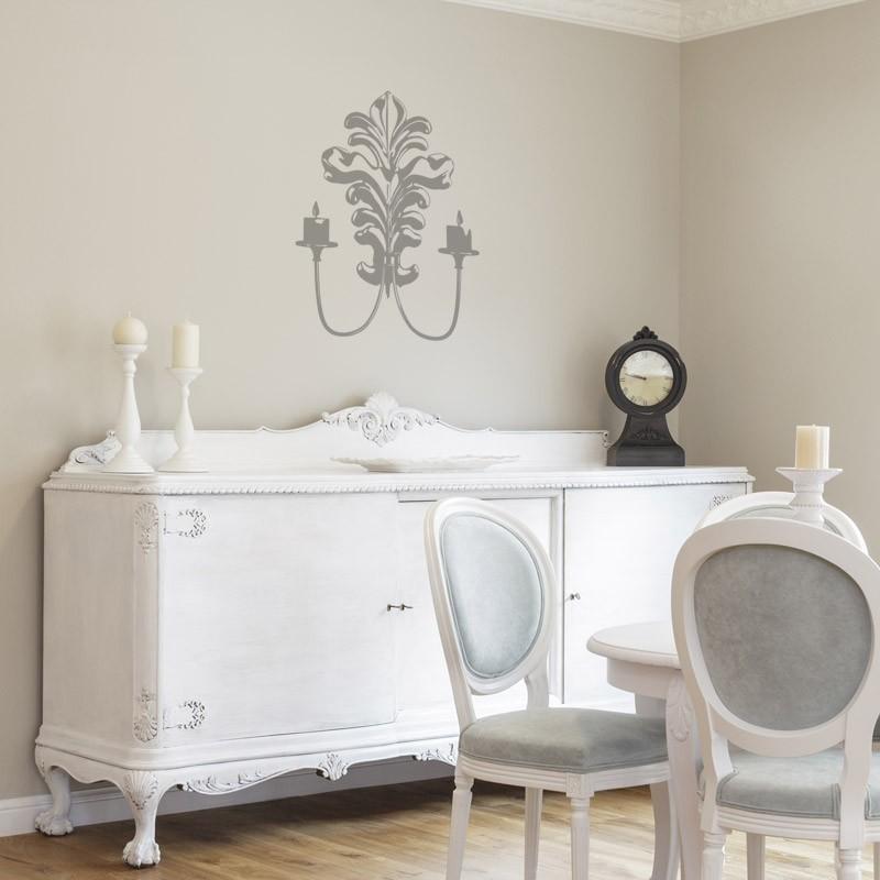 sticker chandelier style baroque d coration murale pour chambre. Black Bedroom Furniture Sets. Home Design Ideas