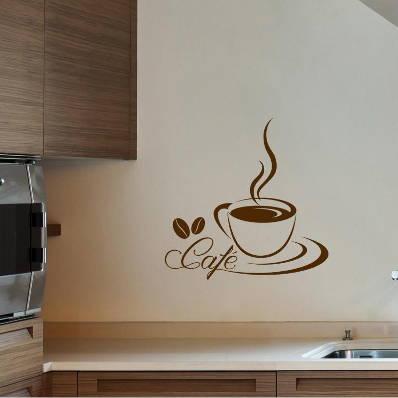 Stickers mural cuisine tasse à café 65 x 40 cm meuble