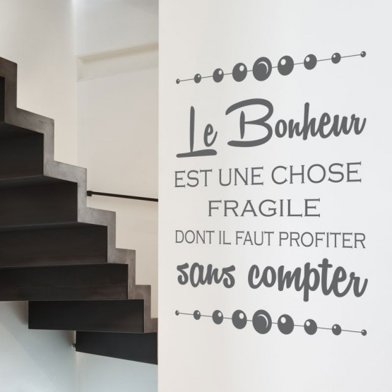 stickers texte sticker citation sur le bonheur gali. Black Bedroom Furniture Sets. Home Design Ideas
