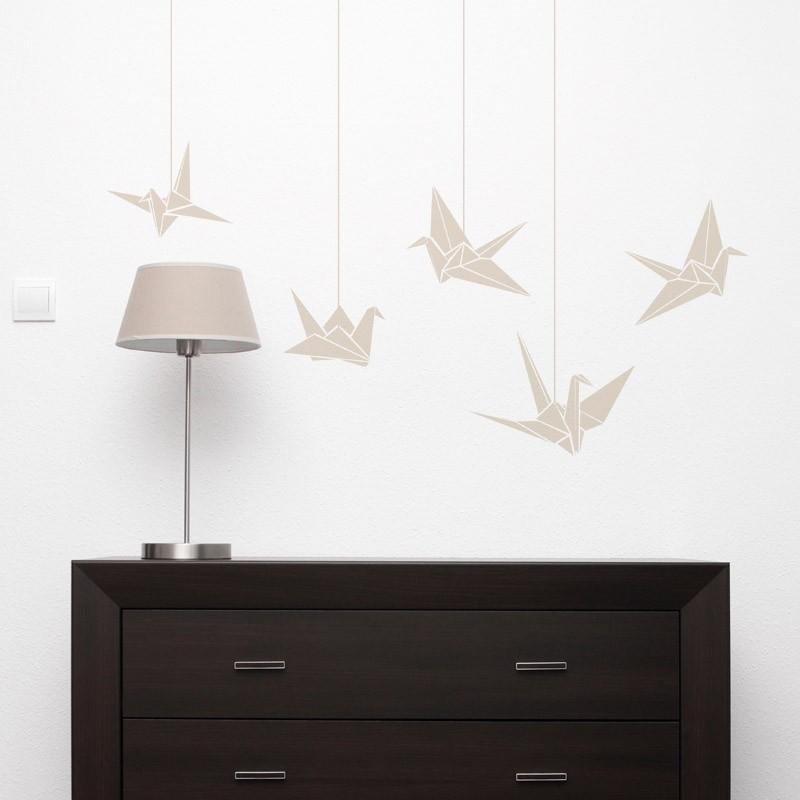 Stickers oiseaux fa on origami gali art d coration murale nature et zen pour int rieurs modernes - Origami decoration murale ...
