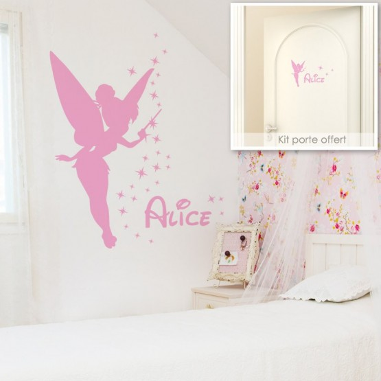 sticker f e clochette avec pr nom stickers f e personnalisable. Black Bedroom Furniture Sets. Home Design Ideas