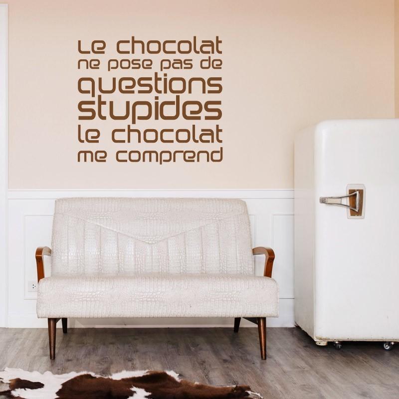Stickers texte le chocolat me comprend citation gourmande for Collant mural francais