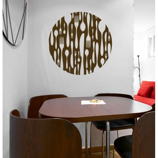 Sticker Cercle Design Couverts