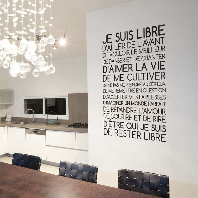 Sticker texte je suis libre d coration murale citation for Autocollant mural texte