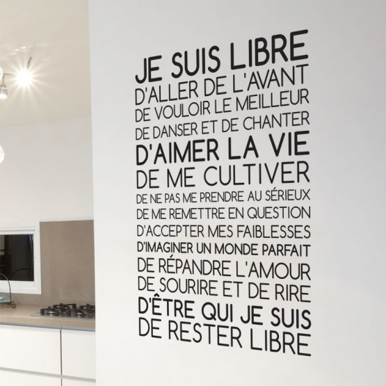 sticker texte je suis libre d coration murale citation positive. Black Bedroom Furniture Sets. Home Design Ideas