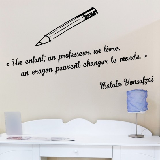 Sticker Crayon et Citation Malala Yousafzai