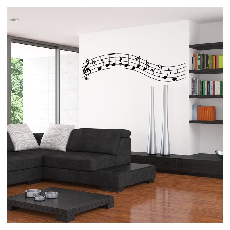 Sticker partition musicale d coration murale notes de for Decoration murale note de musique