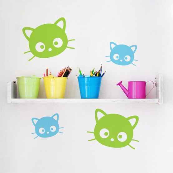 Kit de 2 Stickers Chatons Stickers Chambres Enfants Gali Art