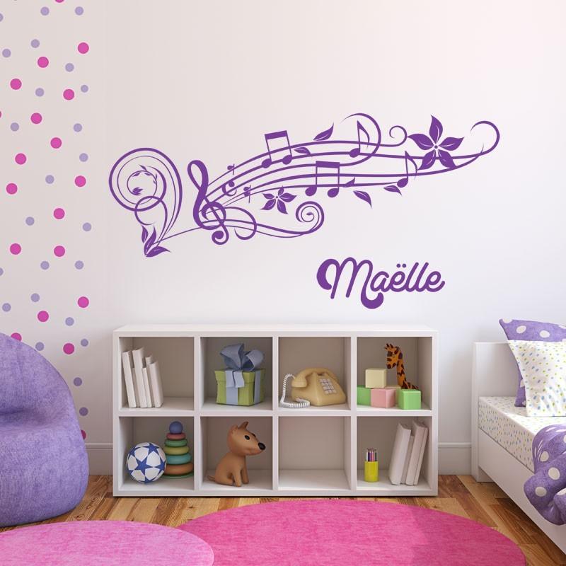 Sticker Prénom avec portée musicale  Décoration murale
