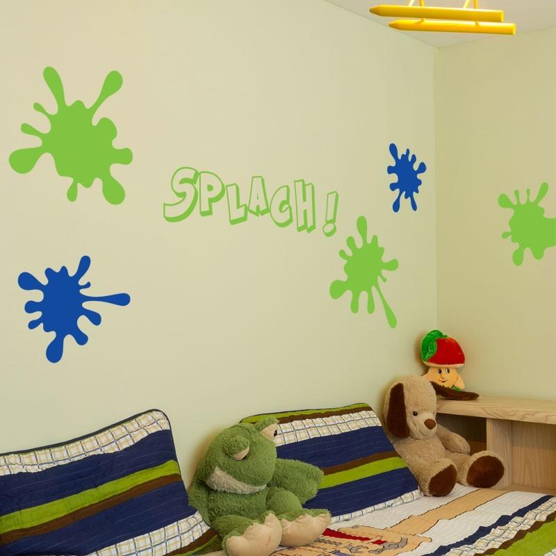 stickers muraux splash d coration tache de peinture chambre d 39 enfant. Black Bedroom Furniture Sets. Home Design Ideas