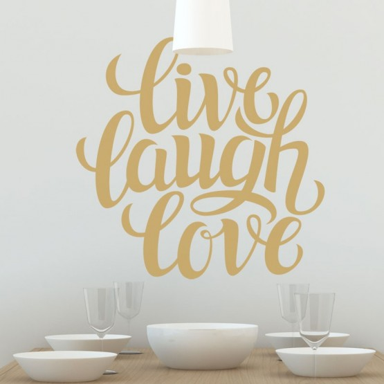 Sticker citation live laught love texte positif for Decoration murale love