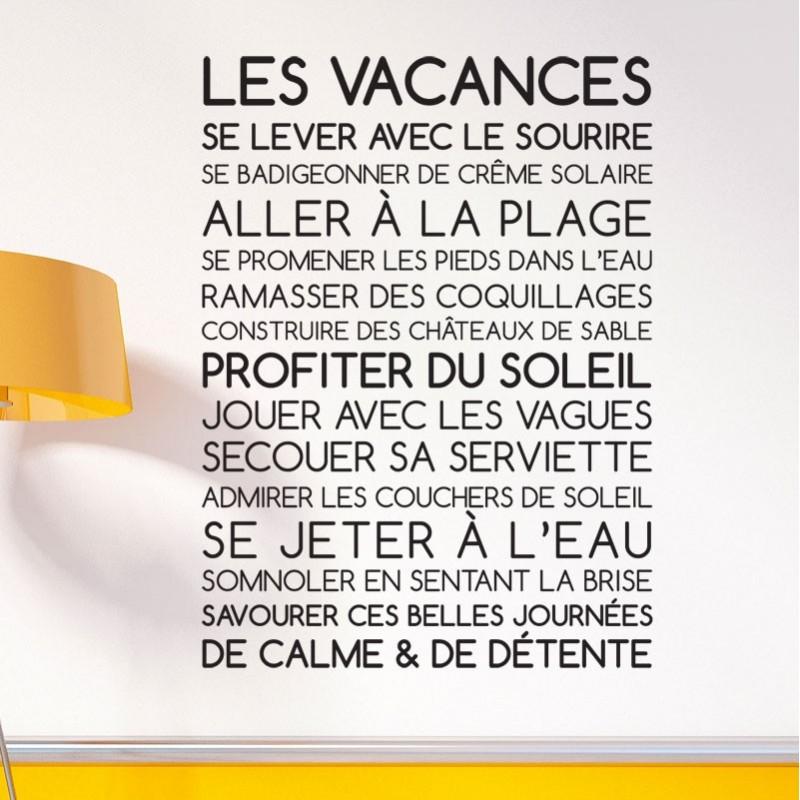 Souvent Sticker Texte Les Vacances - Décoration murale citation originale UW82