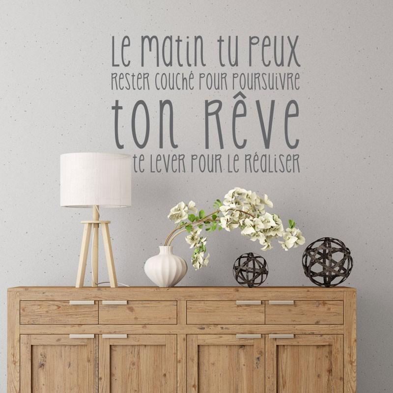 sticker citation r alise ton r ve stickers muraux texte positif. Black Bedroom Furniture Sets. Home Design Ideas