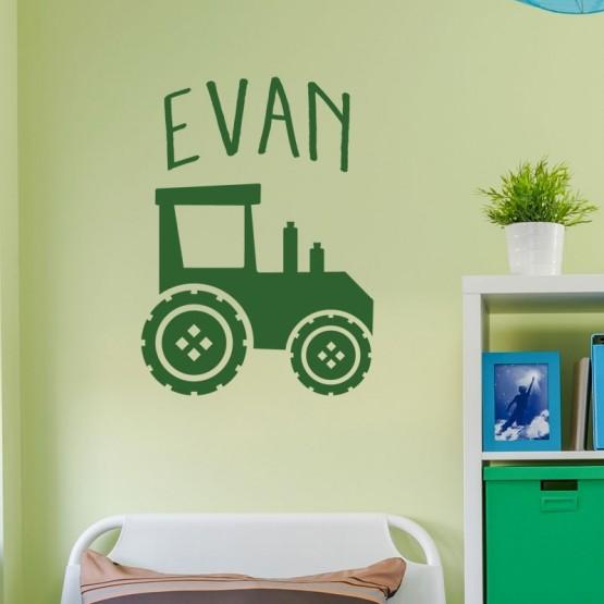 Sticker Tracteur avec Prénom Stickers Chambres Enfants Gali Art