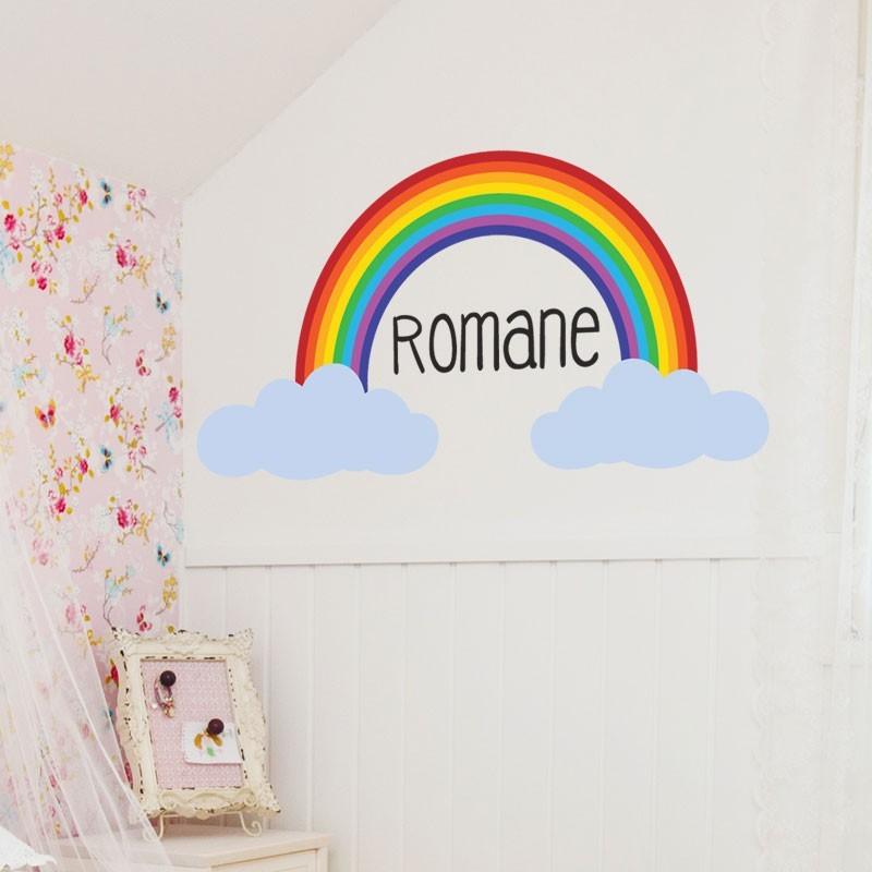 sticker arc en ciel avec prénom - décoration murale personnalisé