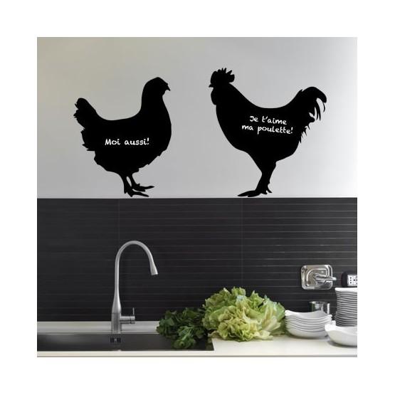 Stickers ardoise poule et coq d coration murale pour cuisine - Poule decorative pour cuisine ...