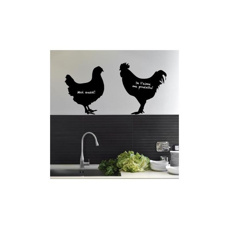 Stickers ardoise poule et coq d coration murale pour cuisine - Stickers ardoise pour cuisine ...