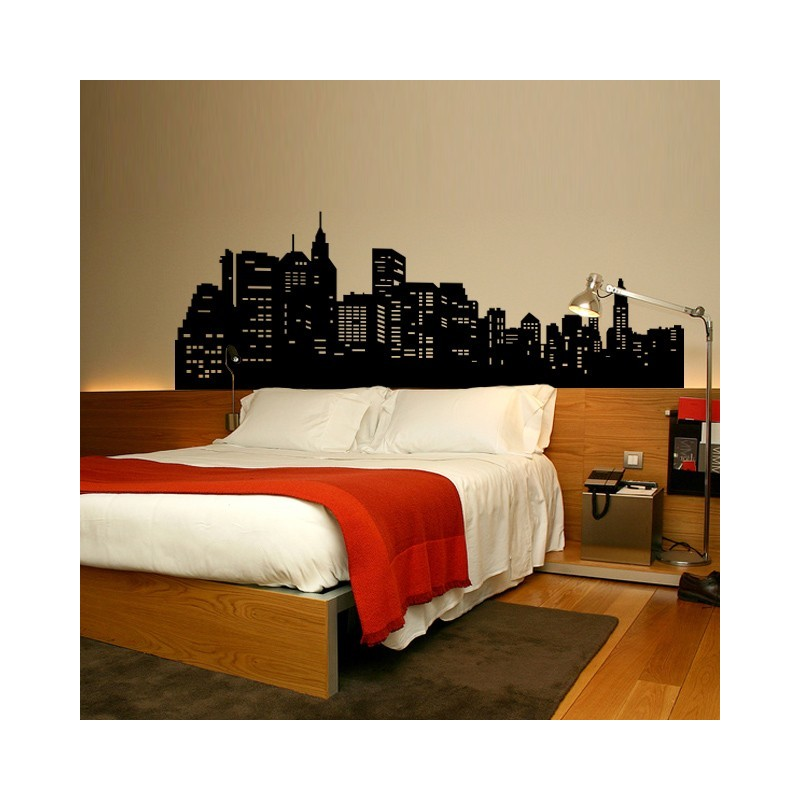 sticker new york t te de lit d coration chambre new york. Black Bedroom Furniture Sets. Home Design Ideas