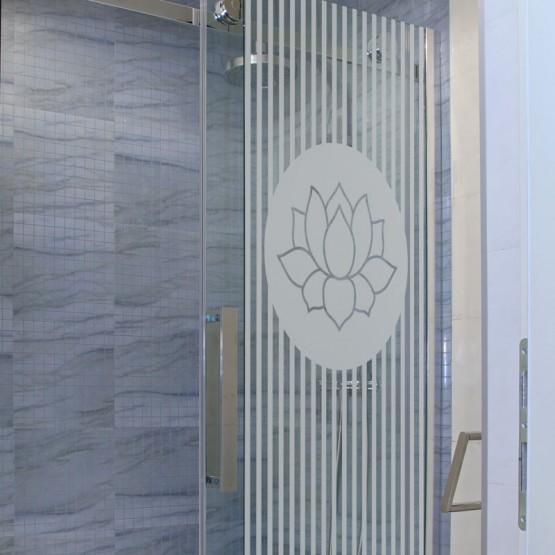 Sticker dépoli Fleur de Lotus Stickers Occultant Paroi de douche