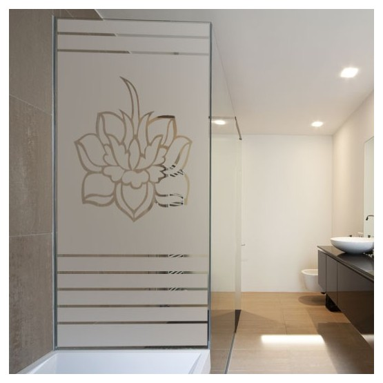 sticker pour douche lotus en store d coration zen pour salle de bain. Black Bedroom Furniture Sets. Home Design Ideas