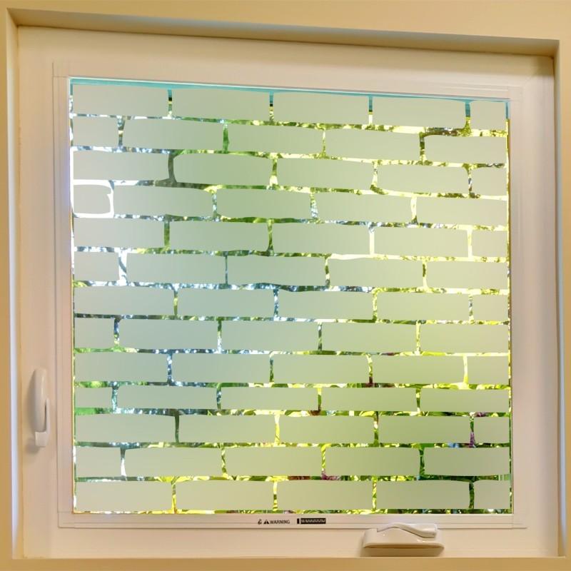 Sticker occultant mur de brique d coration d poli pour - Fenetre brique de verre ...