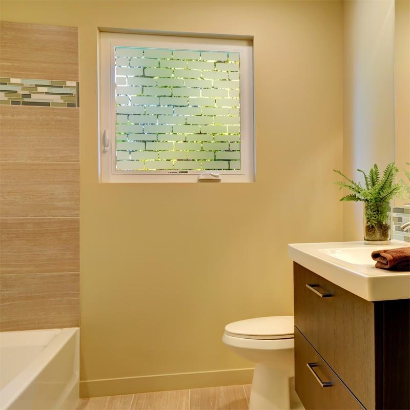 sticker occultant mur de brique d coration d poli pour fen tre. Black Bedroom Furniture Sets. Home Design Ideas