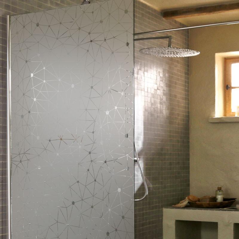 Sticker Dépoli Paroi de Douche Céleste   Film occultant salle de bain