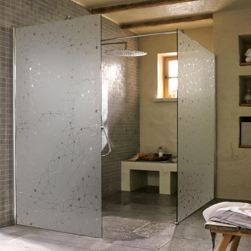 sticker d poli paroi de douche c leste film occultant salle de bain. Black Bedroom Furniture Sets. Home Design Ideas