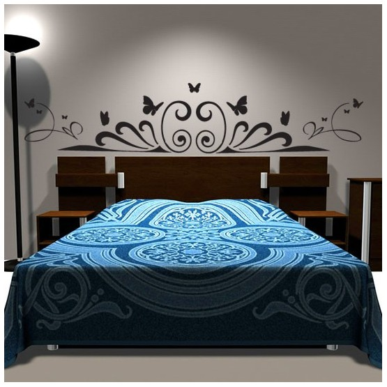 sticker t te de lit art d co d coration murale contemporaine. Black Bedroom Furniture Sets. Home Design Ideas