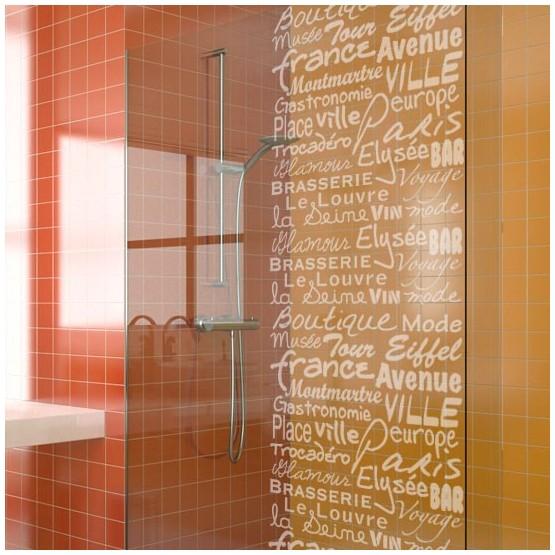 sticker pour paroi de douche texte glamour d coration de vitre d poli. Black Bedroom Furniture Sets. Home Design Ideas