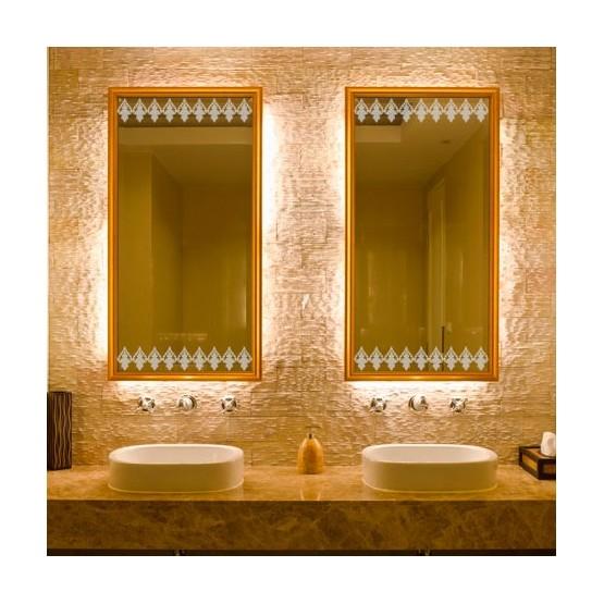 sticker de vitre d poli frise baroque d coration salle de bain paroi douche verre. Black Bedroom Furniture Sets. Home Design Ideas