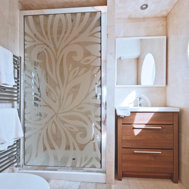 sticker d poli fleur zebre adh sif pour paroi de douche effet verre grav. Black Bedroom Furniture Sets. Home Design Ideas