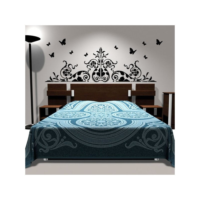 sticker t te de lit vinicole d coration murale chambre. Black Bedroom Furniture Sets. Home Design Ideas