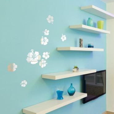 Kit de 6 Stickers Hibiscus Effet Miroir