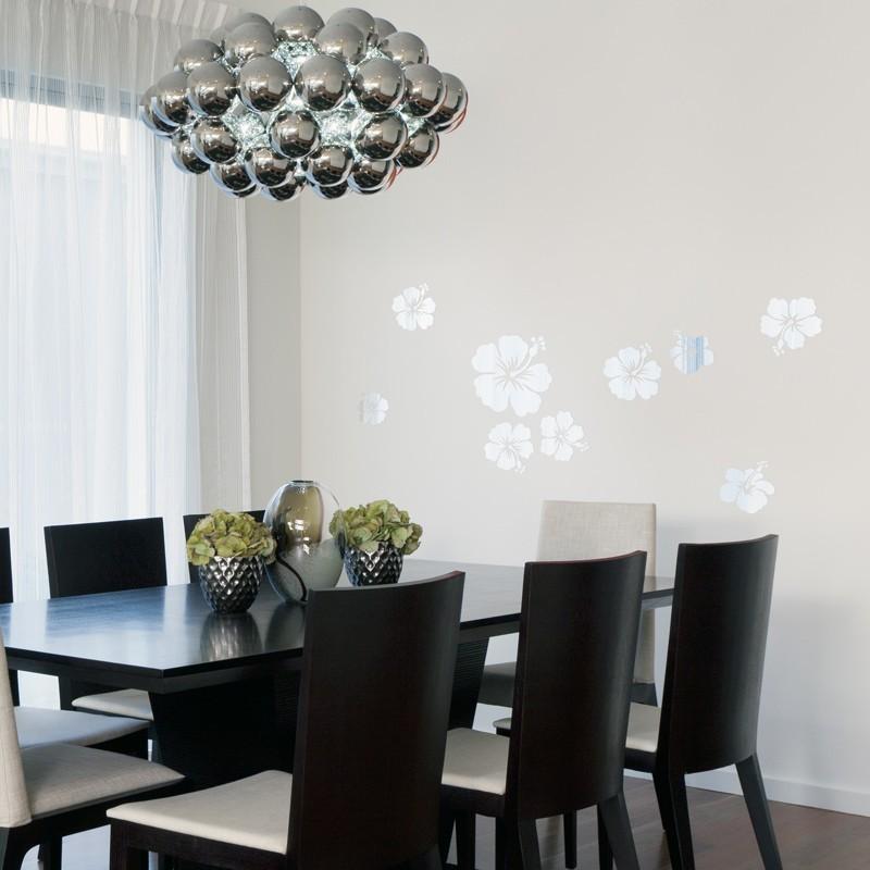 stickers hibiscus effet miroir d coration design. Black Bedroom Furniture Sets. Home Design Ideas