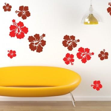 Kit de 12 Stickers Fleurs d'Hibiscus Géantes (2 couleurs)