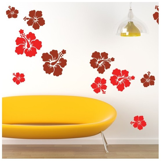 Kit de 12 Stickers Fleurs d'Hibiscus Géantes (2 couleurs) Stickers Nature