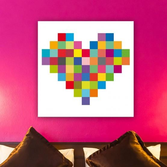 tableau coeur color d coration murale pixel art. Black Bedroom Furniture Sets. Home Design Ideas
