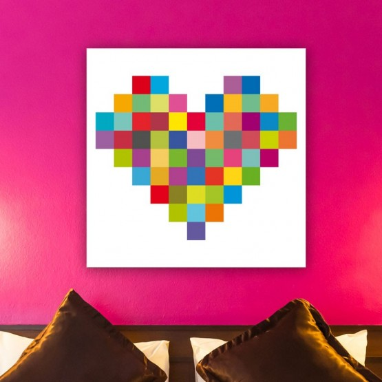 Tableau Coeur coloré - Décoration murale Pixel Art