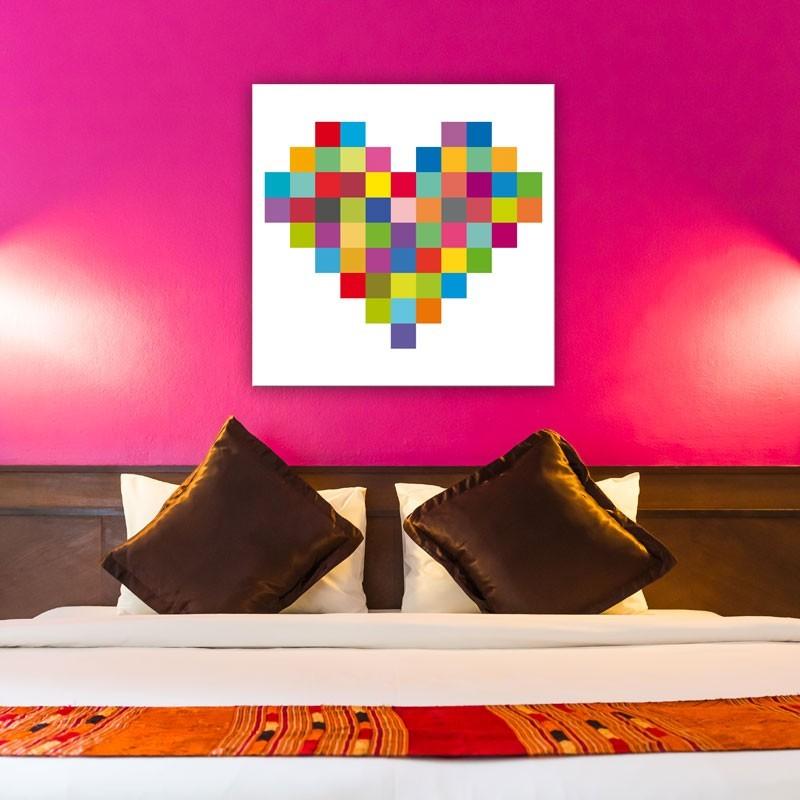 Tableau Coeur Coloré Décoration Murale Pixel Art Gali