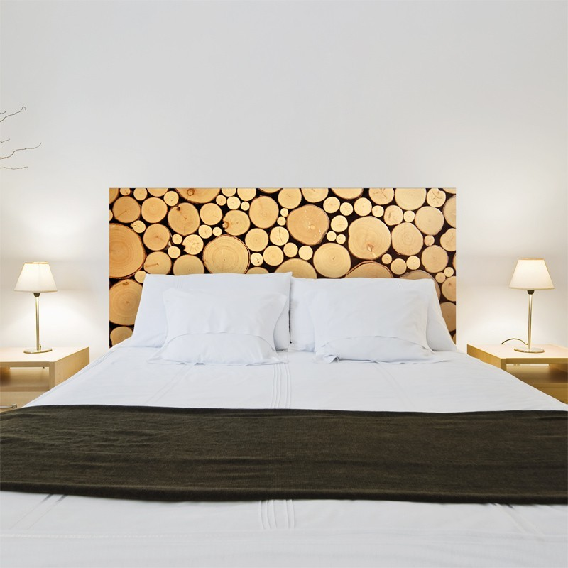 sticker t te de lit rondins de bois d coration tendance pour la chambre. Black Bedroom Furniture Sets. Home Design Ideas