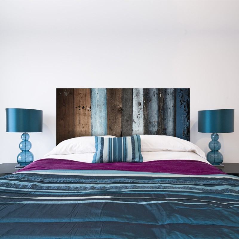 sticker t te de lit en bois bleu d coration tendance pour la chambre. Black Bedroom Furniture Sets. Home Design Ideas