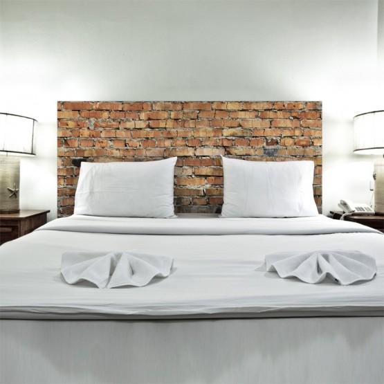 sticker tete de lit mur de briques d coration trompe l 39 oeil briques rouge deco urbaine gali art. Black Bedroom Furniture Sets. Home Design Ideas