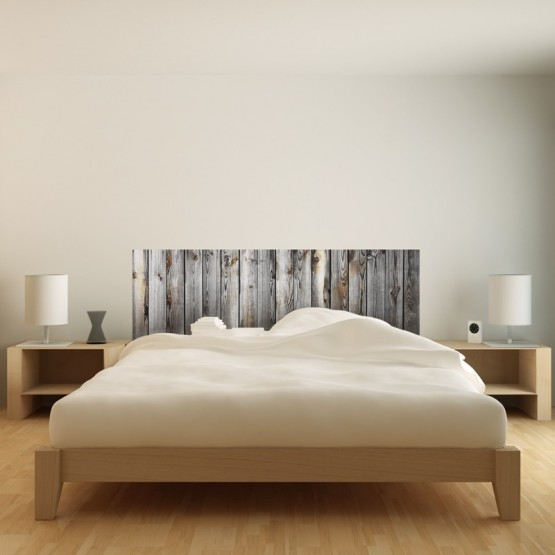 stickers muraux sticker t te de lit bois ancien. Black Bedroom Furniture Sets. Home Design Ideas