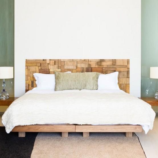 stickers muraux sticker t te de lit bois patchwork d coration chambre. Black Bedroom Furniture Sets. Home Design Ideas