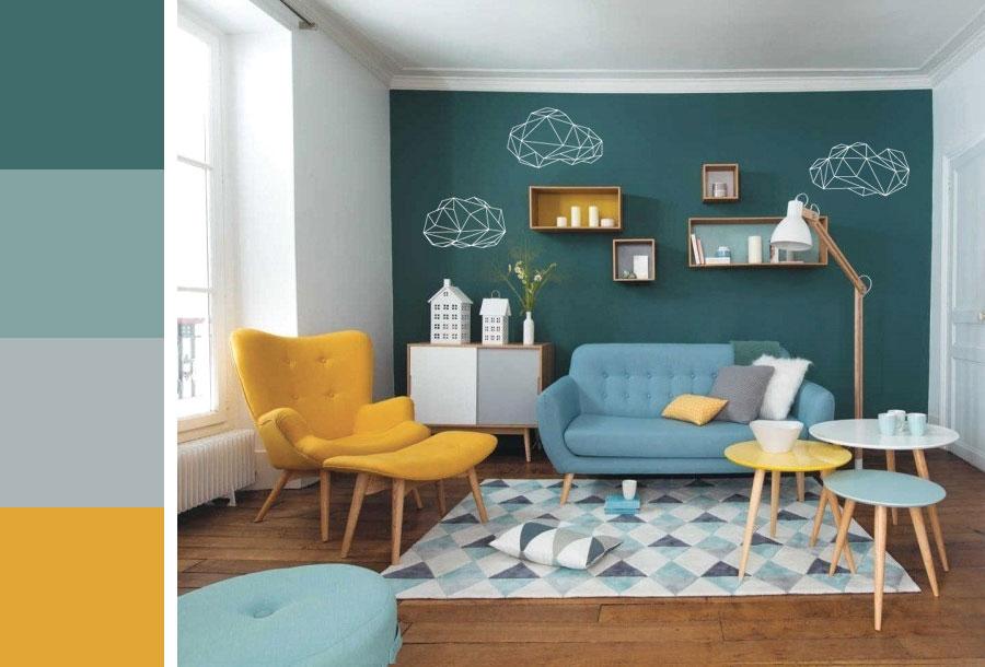 Salon couleur tendance bleu canard moutarde