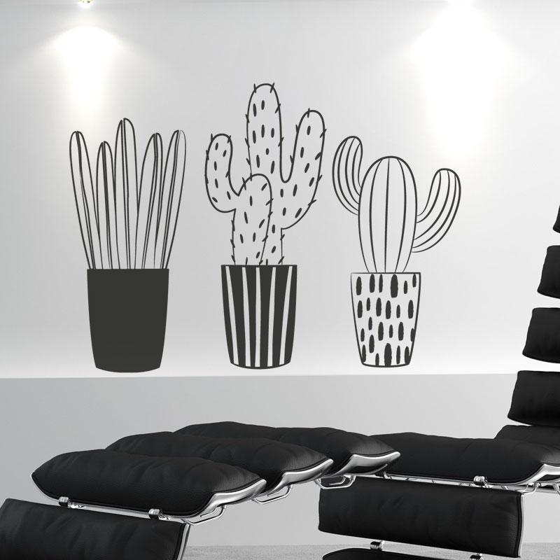 Trio de cactus adhésif