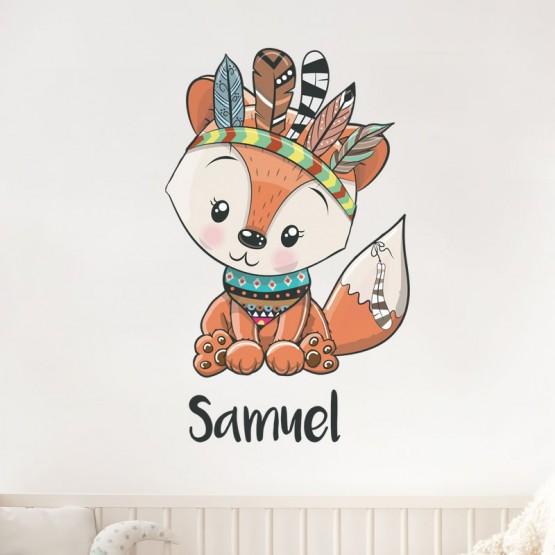 Sticker renard avec prénom